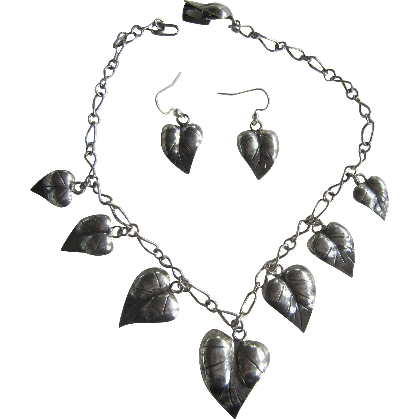 Sterling Necklace and Earrings Leaf Shaped