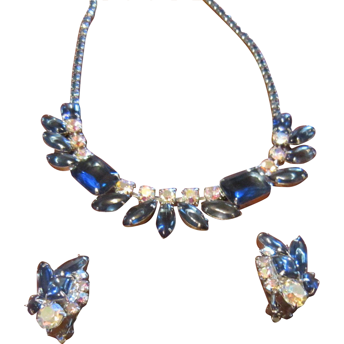 Necklace and Earrings - Dark Blue Emerald Cut and Navettes with AB Rhinestones