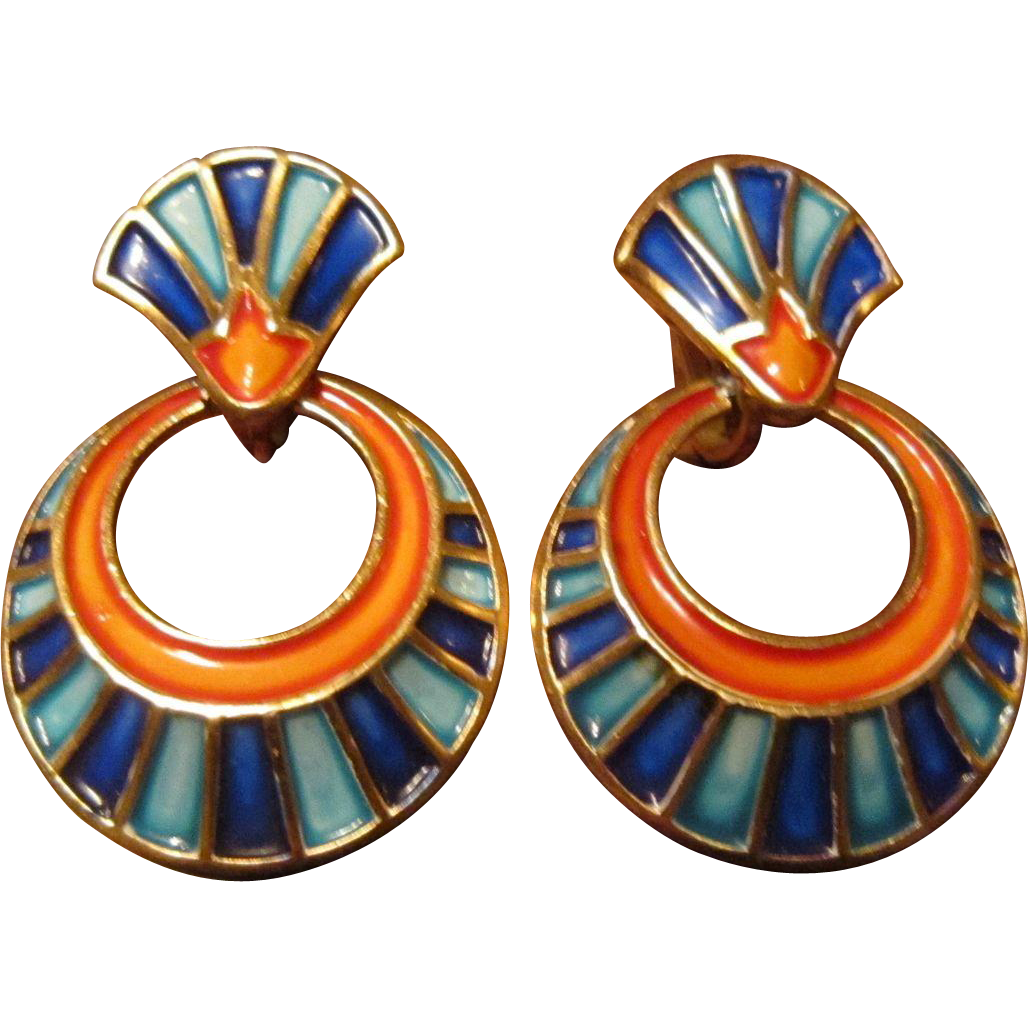 Trifari Egyptian Enamel Drop Earrings