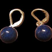 Dark Lapis with Fool's Gold Specks Earrings