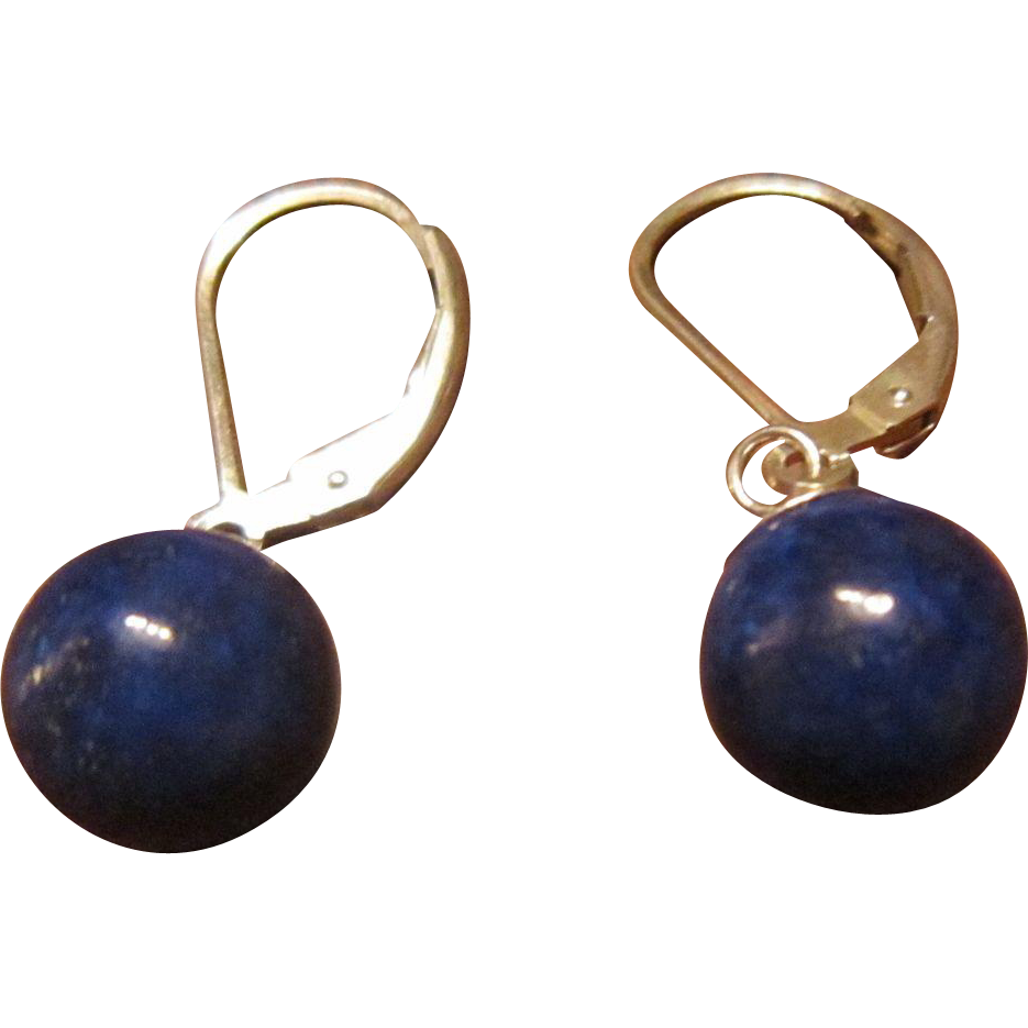 Dark Lapis with Fool's Gold Specks Earrings