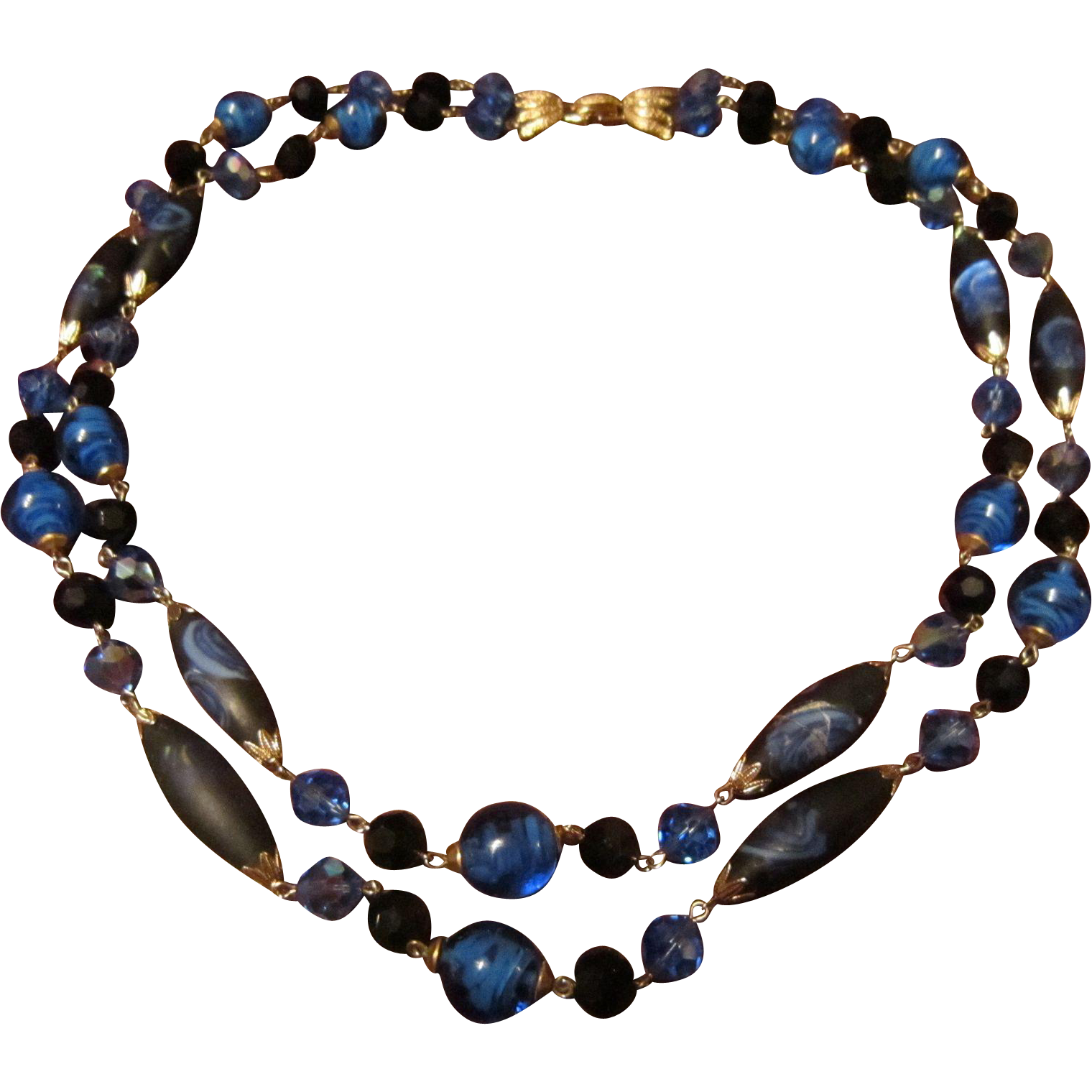Vendome 2 Strand  Necklace with Murano Venice Long and Round Beads and Facetted Black and Mid Blue