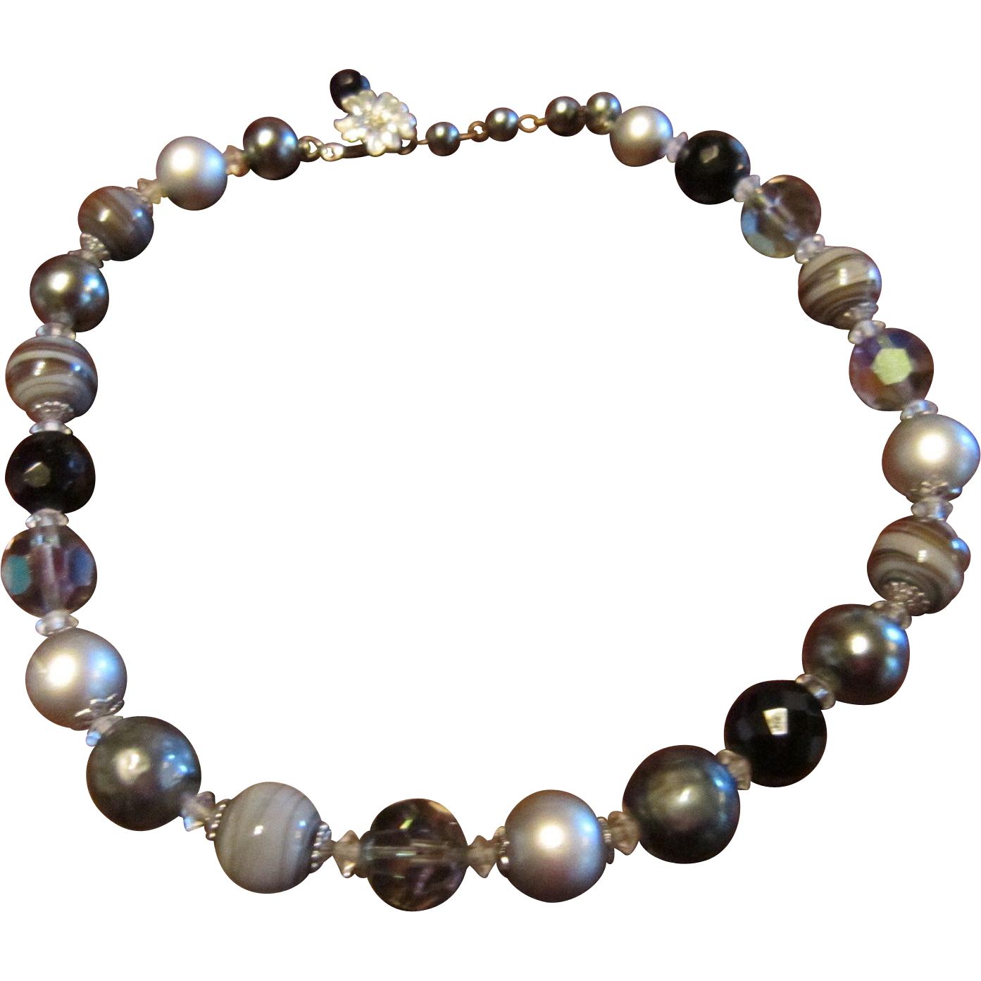 Vendome Necklace with Glass Beads, Stone, Faux Baroque and Round Pearls with Silver Tone Metal