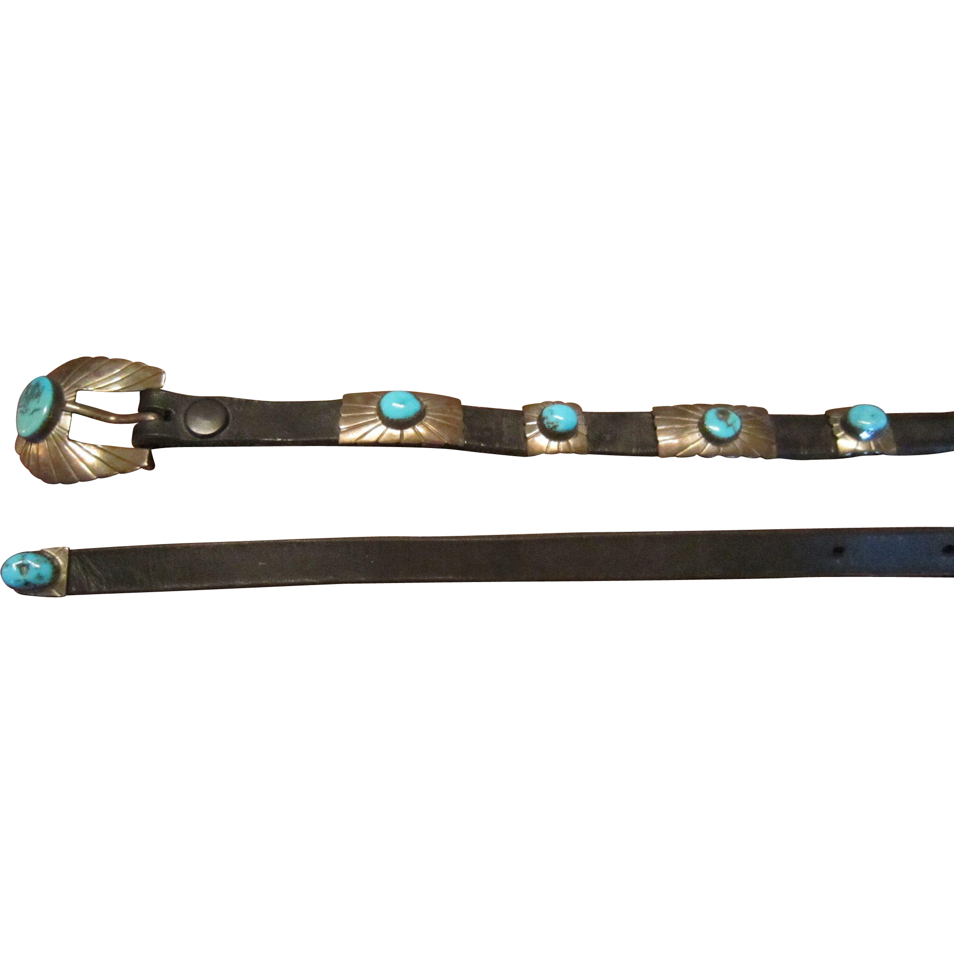 SAVE $200: Jimmie Patterson, Navajo, Concha  Belt, Blue Gem Turquoise in Sterling and Black Leather