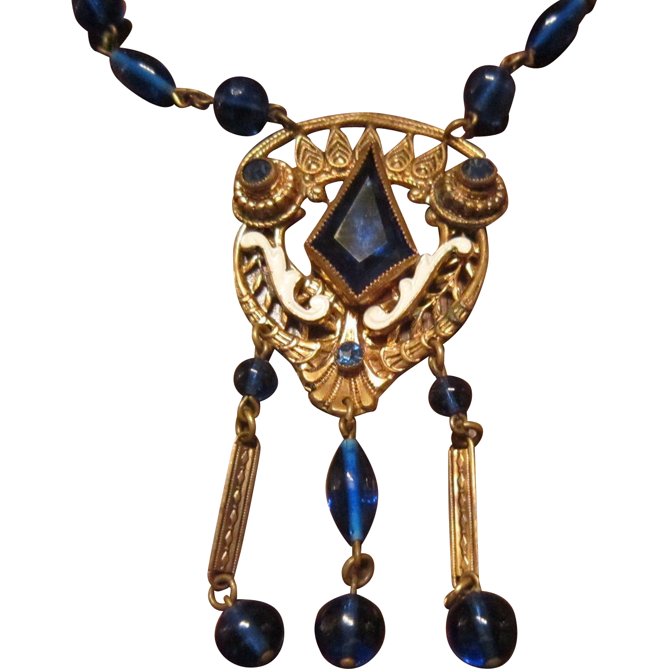 Neiger Blue Bead Necklace with a Pendant with a Kite Shaped Stone, White Enamel and Blue Rhinestones