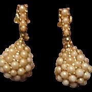 Ciner Faux Pearl Dangle Earrings