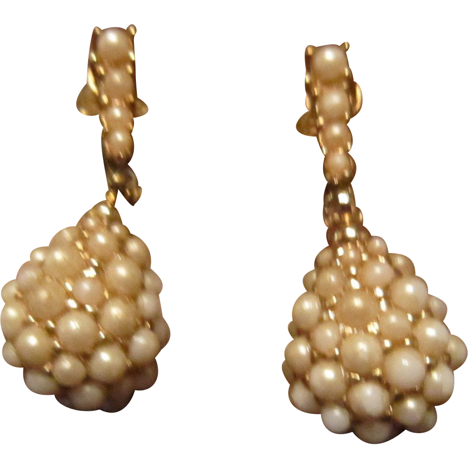 Ciner Faux Pearl Dangle Earrings