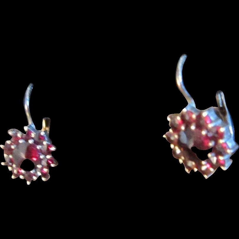 Bohemian Garnet Lever Back Earrings with Rose Cut Center