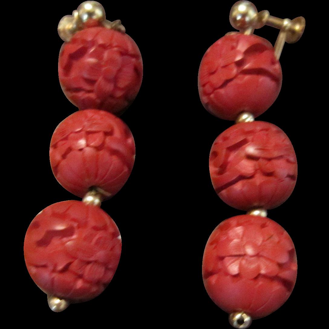 Chinese Cinnabar Drop Earrings