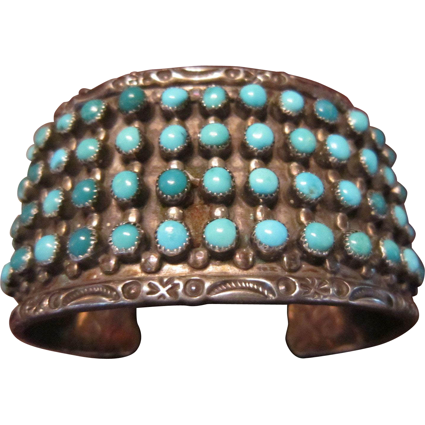 SALE $99 OFF: J P Ukestine, Zuni, 4 Row Sterling Cuff Bracelet with Turquoise