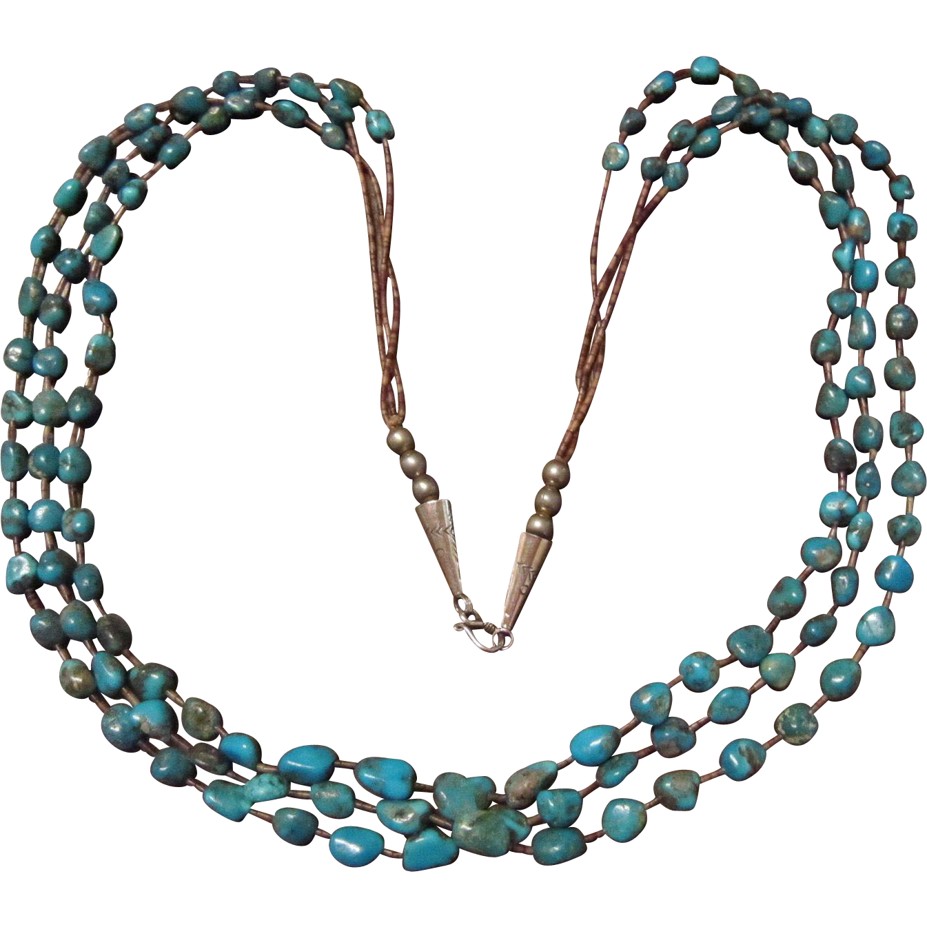 Blue Gem Turquoise Necklace with 3 Strands - Heishi and Sterling Cones