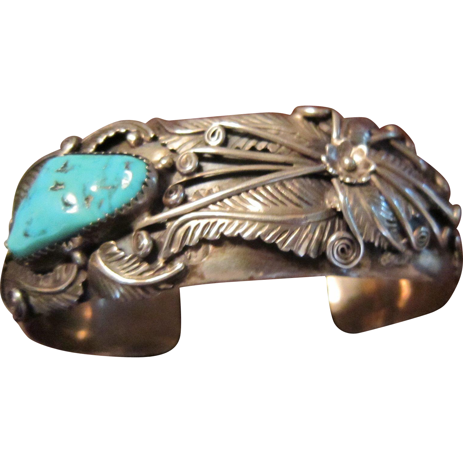 SALE $99 OFF: Large Wrist Navajo Foliate Sterling Cuff Bracelet