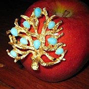 SALE: Boucher Tree Brooch With Faux Turquoise Stones: Book Piece