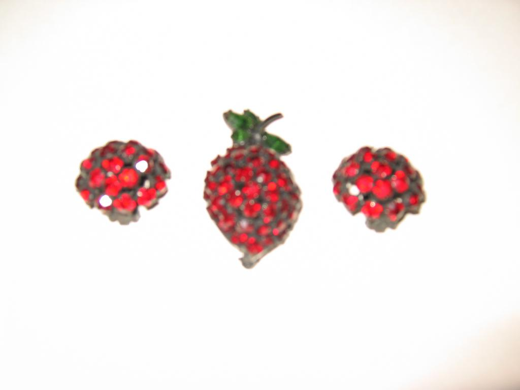 SALE: Warner's Perfect Strawberry Brooch with Earrings