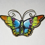 David Andersen Rainbow Guilloche Sterling Butterfly