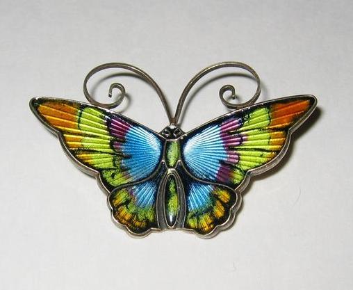David Andersen Rainbow Guilloche Sterling Butterfly