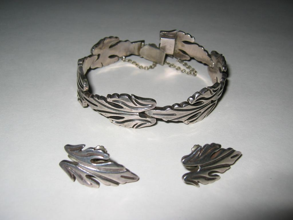 Taxco Sterling Silver J. Flores Leaf Bracelet and Earrings