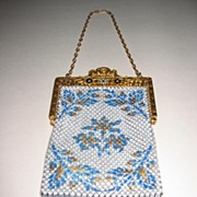 SALE: Mandalian Gold Metal and Enamel Mesh Purse-Book Piece