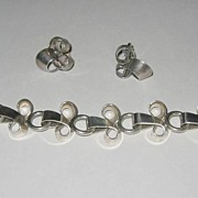 Modernist Napier Sterling Loopy Link Bracelet and Earrings