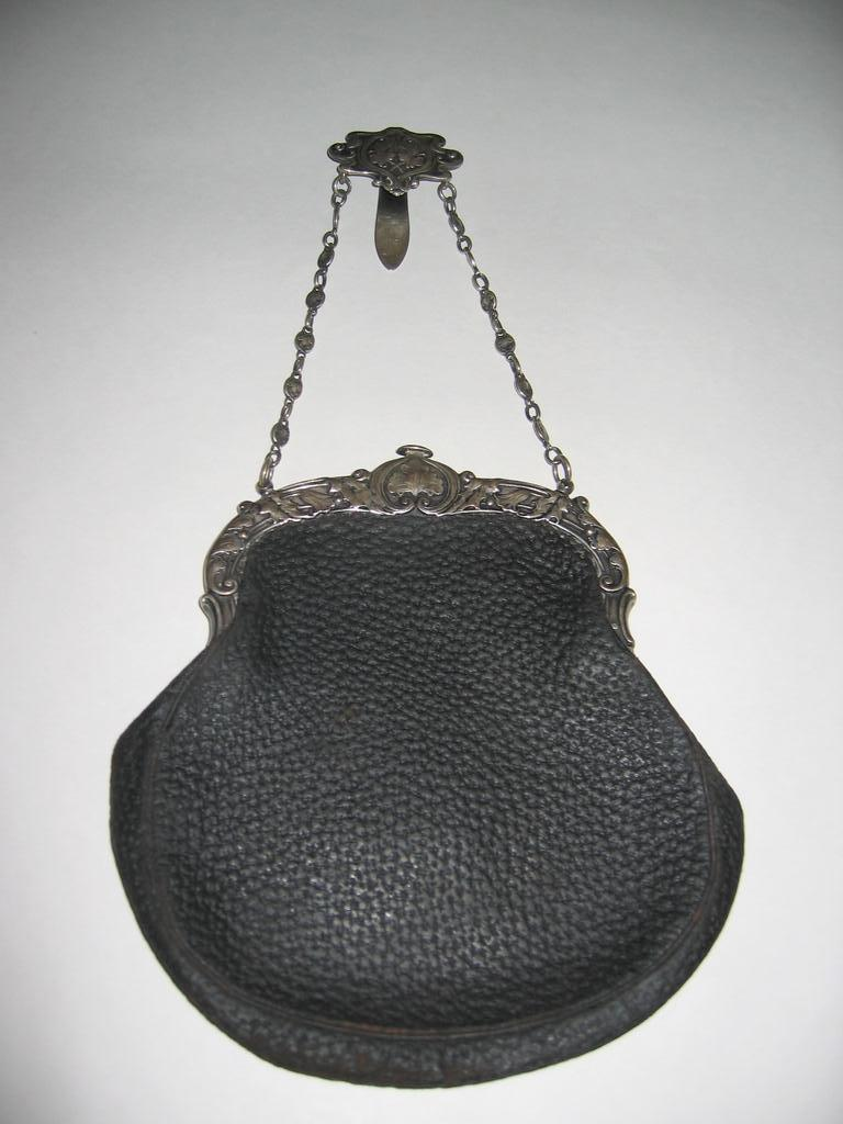 SALE Gorham Leather  Chatelaine Purse, Sterling Frame c. 1904