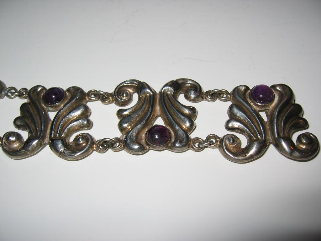 Early Sterling and Amethyst Repousse Link Bracelet