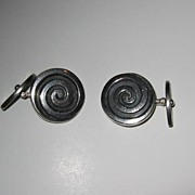 Los Castillo Sterling Swirl Cuff Links - Taxco, Mexico