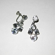 Vintage Weiss Clear Rhinestone Drop Earrings