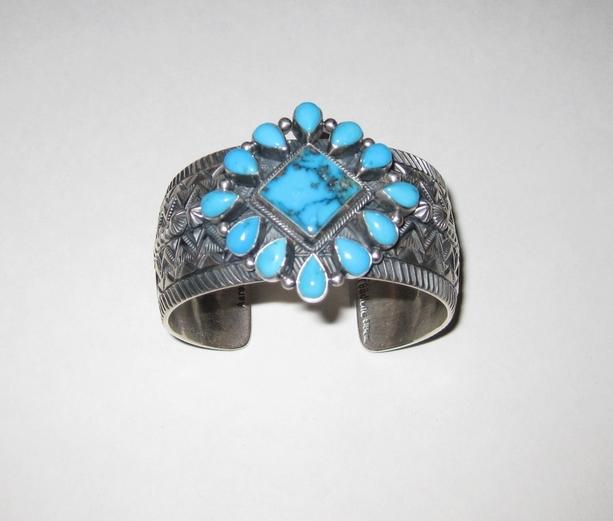 Aaron Toadlena Blue Gem Turquoise Cuff Bracelet.