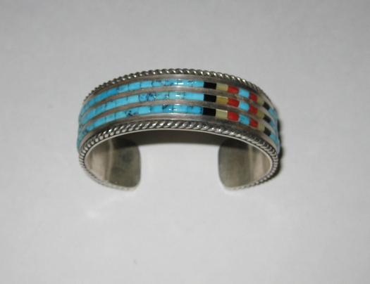 Jimmie King Turquoise Inlay Sterling Cuff Bracelet.