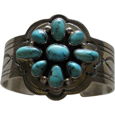 Ray Bennett Turquoise and Sterling Cuff Bracelet