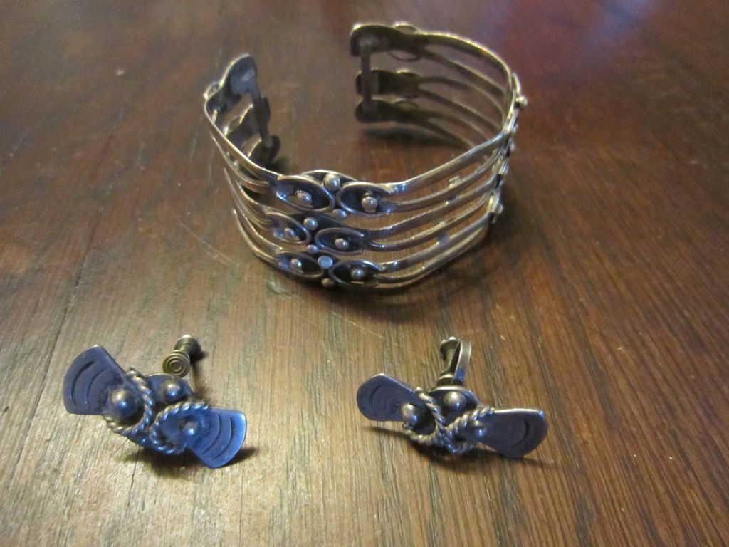 Signed Taxco Sterling Cuff, Matching Earrings