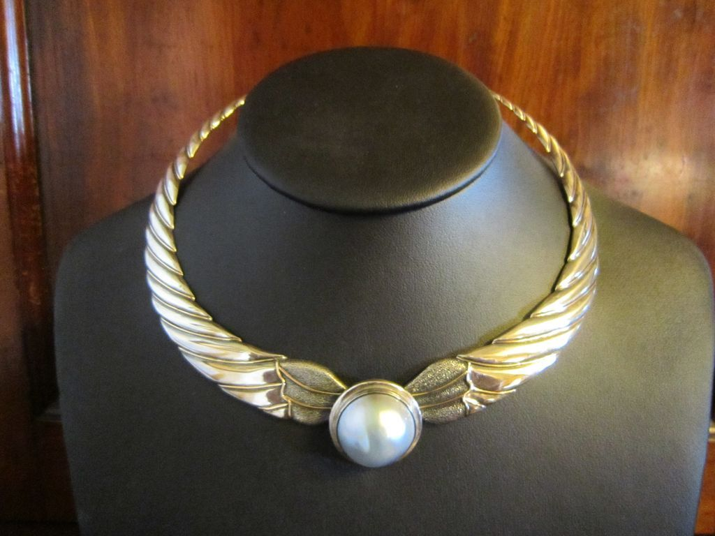 Hand Made Sterling Collar with Blue Mabe Pearl and 18K Wire