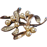 Trifari Sterling Vermeil Mistletoe Brooch with Faux Pearls and Clear Rhinestones - Designed by Alfred Philippe