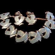 Margot de Taxco Blue Enamel Ribbons Link Bracelet and Earrings