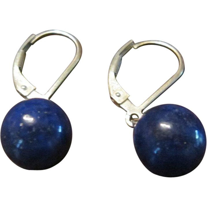 Pair of Lapis Lazuli 9 mm Beads on Sterling Leverbacks