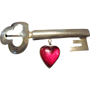 Calvaire Sterling Key to My Heart Brooch - Book Piece