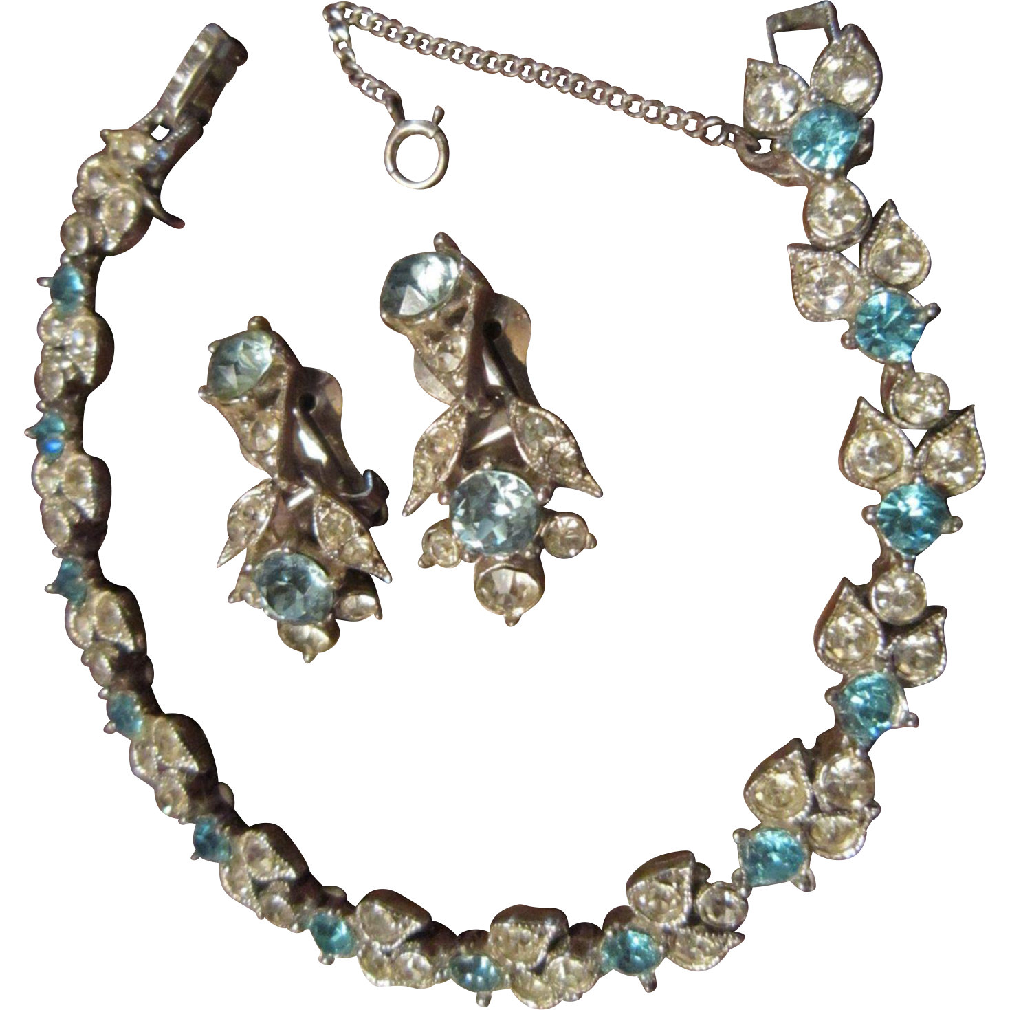 Bogoff Bracelet and Earrings with London Blue and Clear Rhinestones