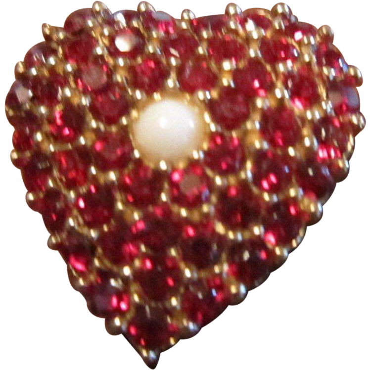 Ciner Heart Brooch with Red Rhinestones and a Faux Pearl