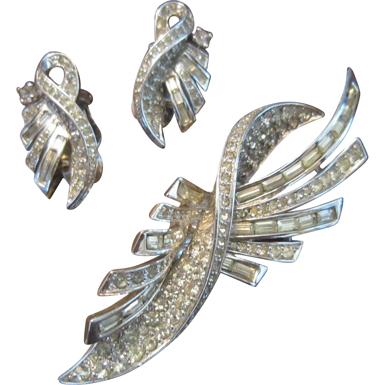 Pennino Brooch and Earrings - Clear Rhinestones