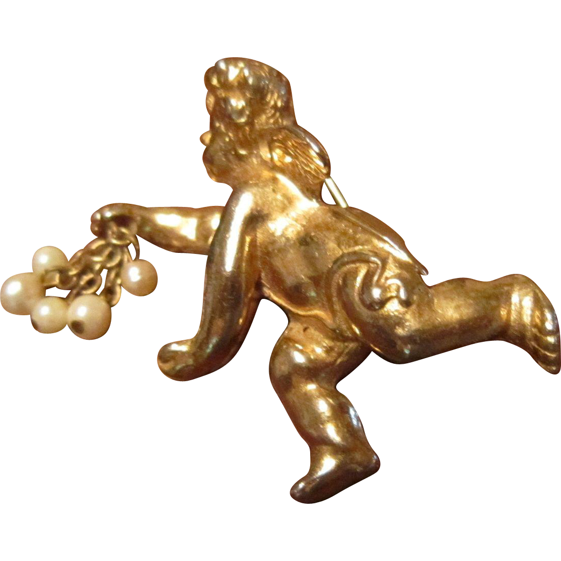 Hattie Carnegie Brooch -  Putti with a Bunch of Faux Pearls