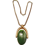 Trifari Gold Tone Snake Chain and Double Sided Pendant Green and Cream