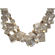 Napier Lucite Cubes and Gold Tone Metal Necklace