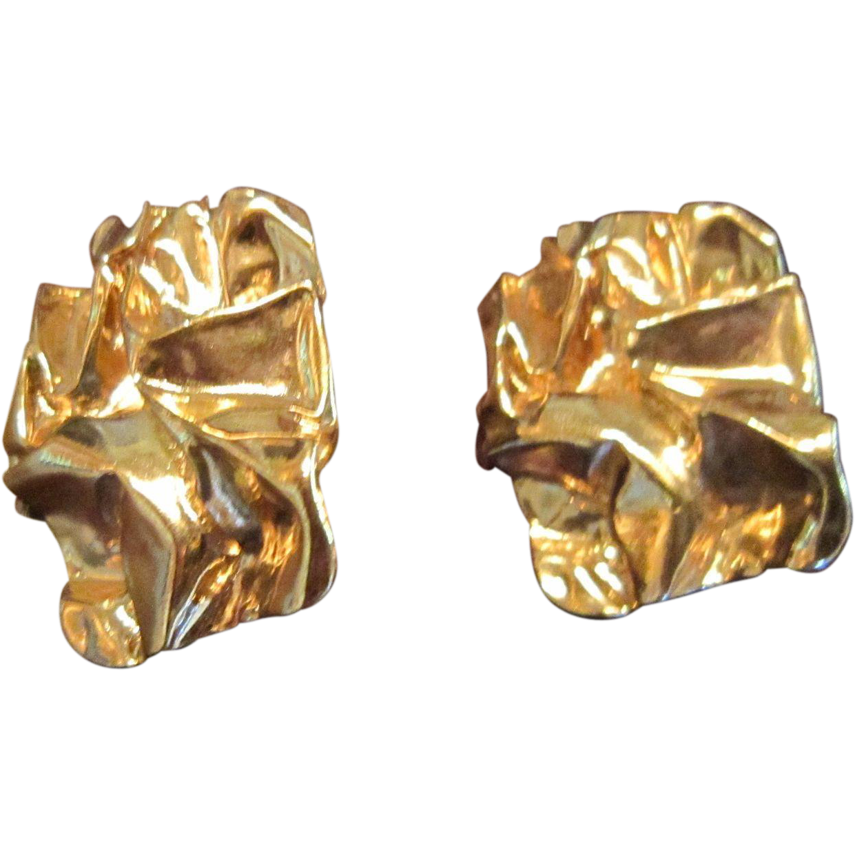 Ciner Melting Gold Plated Earrings - Brutalism Style