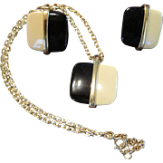 Black and Ivory Color Pendant and Earrings with Gold Tone Metal