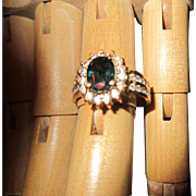 Blue Spinel Surrounded with Clear Rhinestones set in Gold Plated Metal