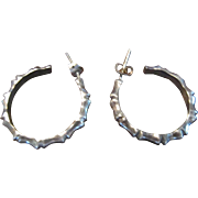 Taxco, Mexico Bamboo Sterling Hoop Post Earrings