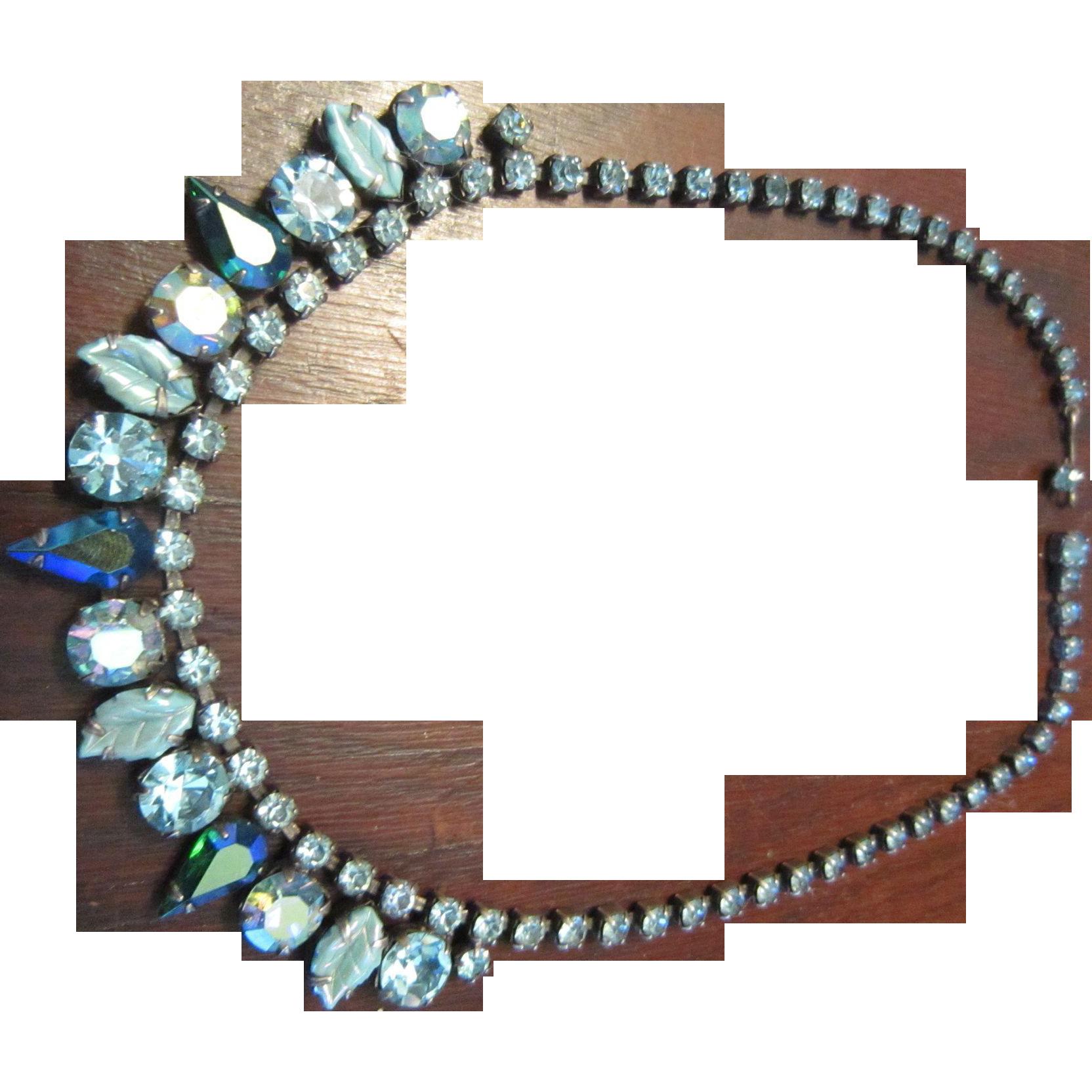 Regency Rhinestone Necklace in Blues