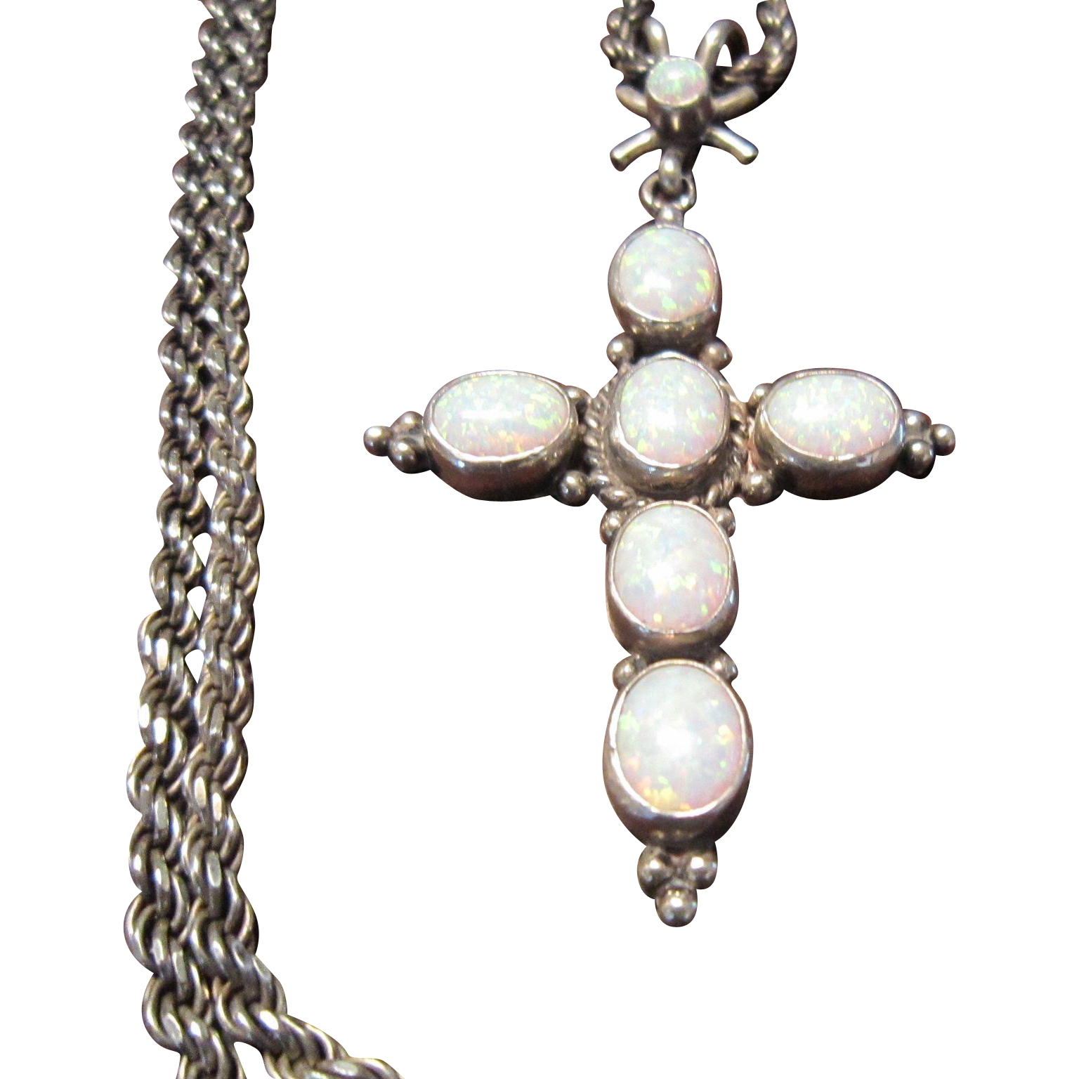 Nakai, Navajo, Opal and Sterling Cross Necklace