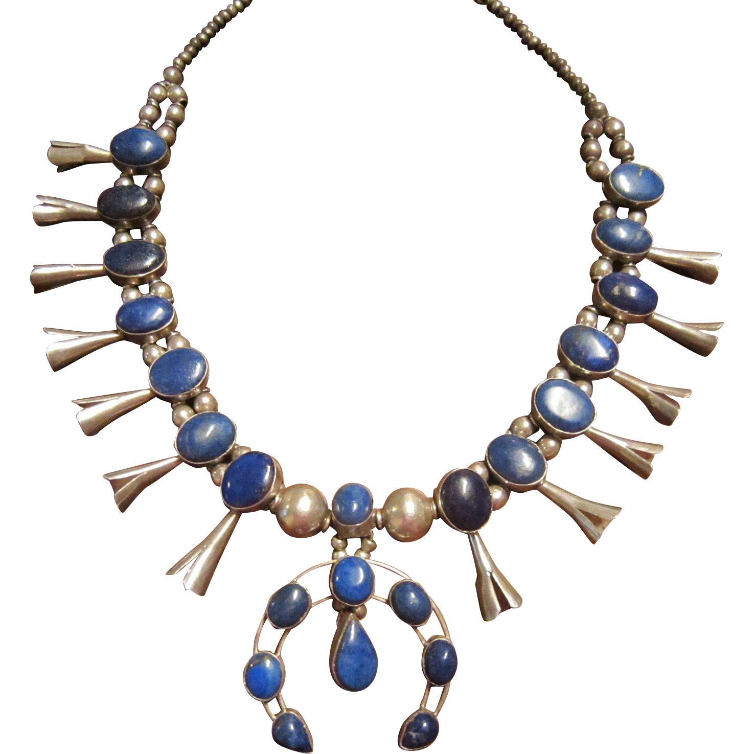 Native American Sterling Lapis Squash Blossom Necklace