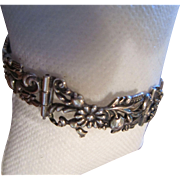 Margot de Taxco Sterling Cast Link Bracelet with Wild Flowers